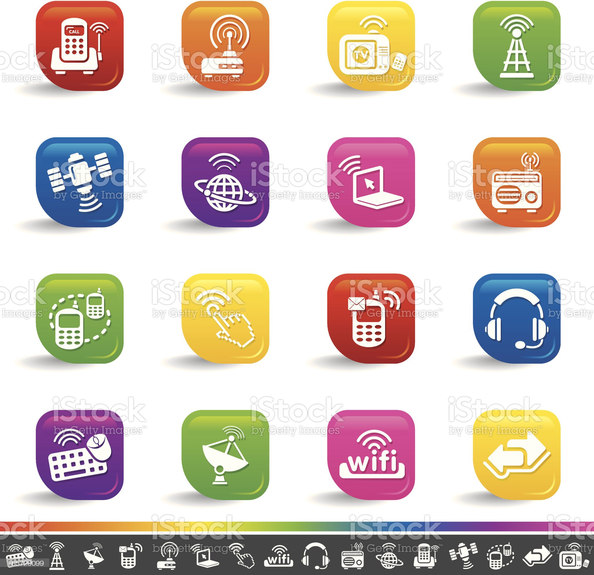 Wireless technology icons | Rainbow Series royalty-free stock vector art
