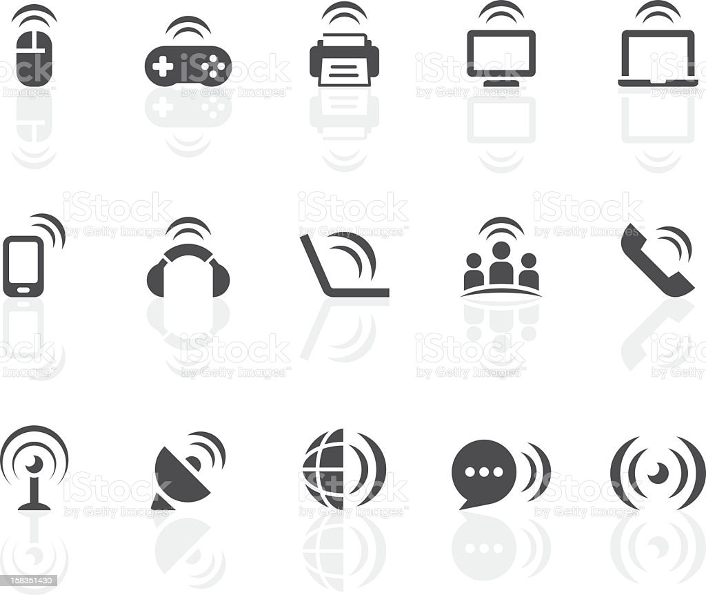 Wireless Technology Icons | Simple Black Series royalty-free stock vector art