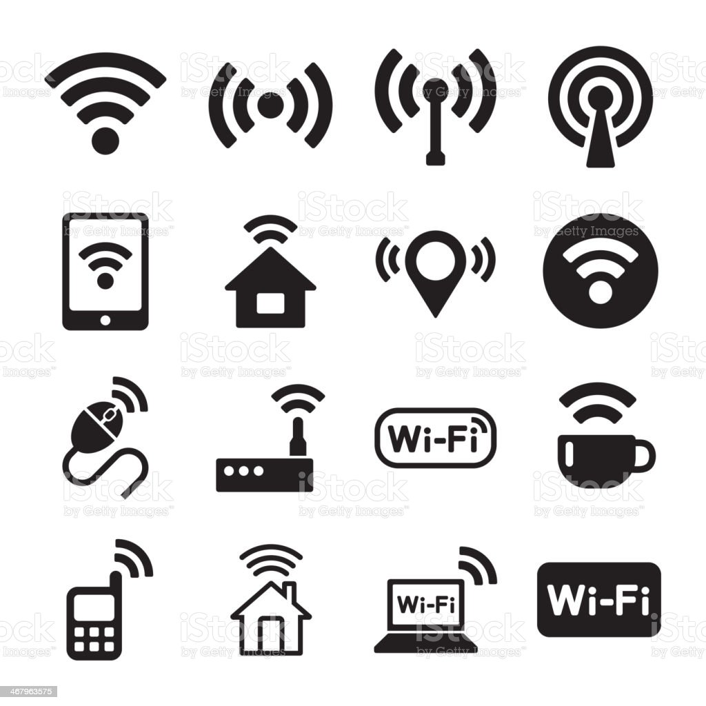 Wireless Technology, Wi-Fi Web Icons Set royalty-free stock vector art