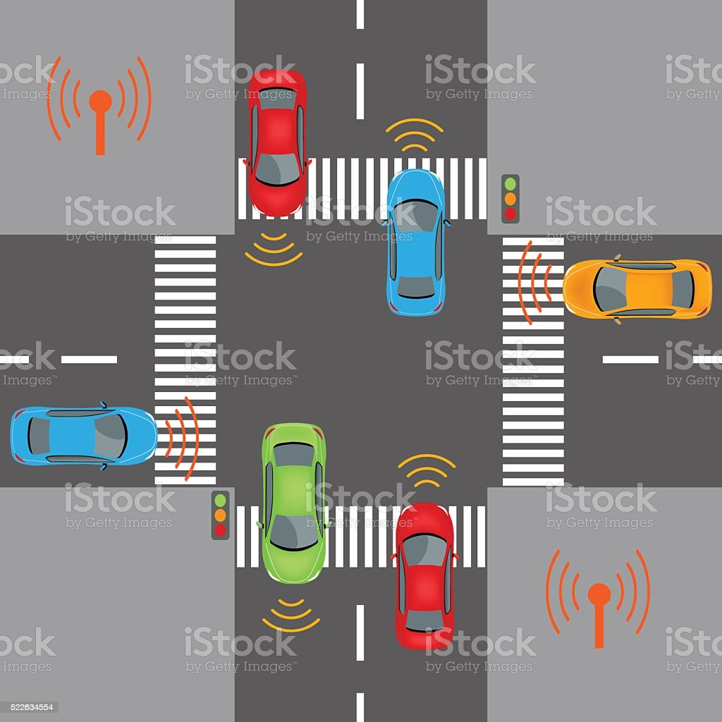 Wireless vehicle communications vector art illustration