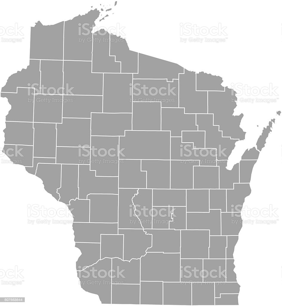 Wisconsin county map vector outline vector art illustration