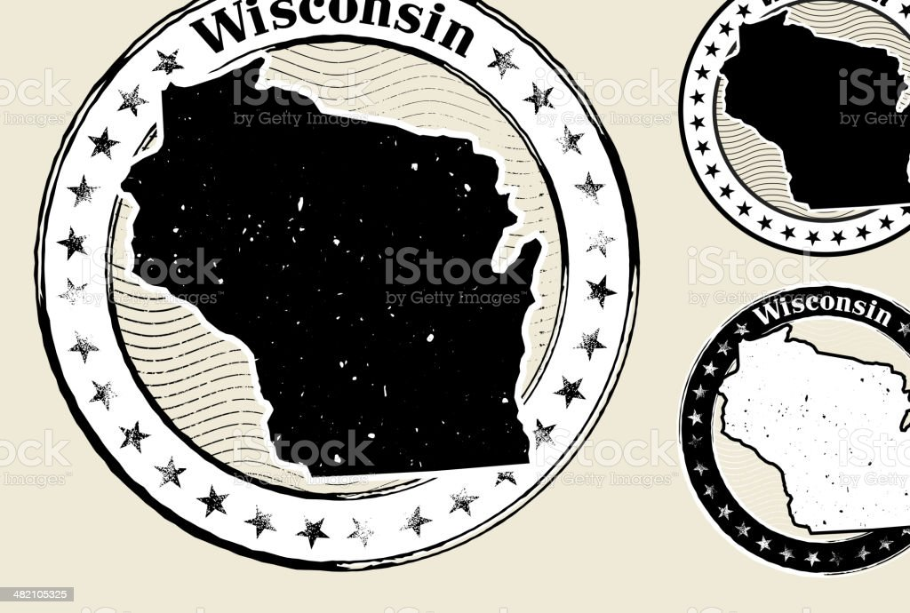 Wisconsin Grunge Map Black & White Stamp Collection vector art illustration