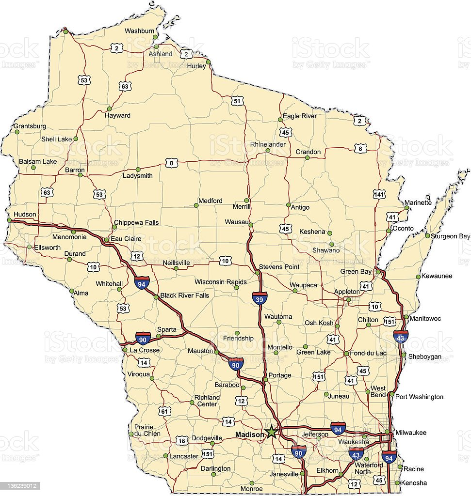 Wisconsin Highway Map (vector) vector art illustration