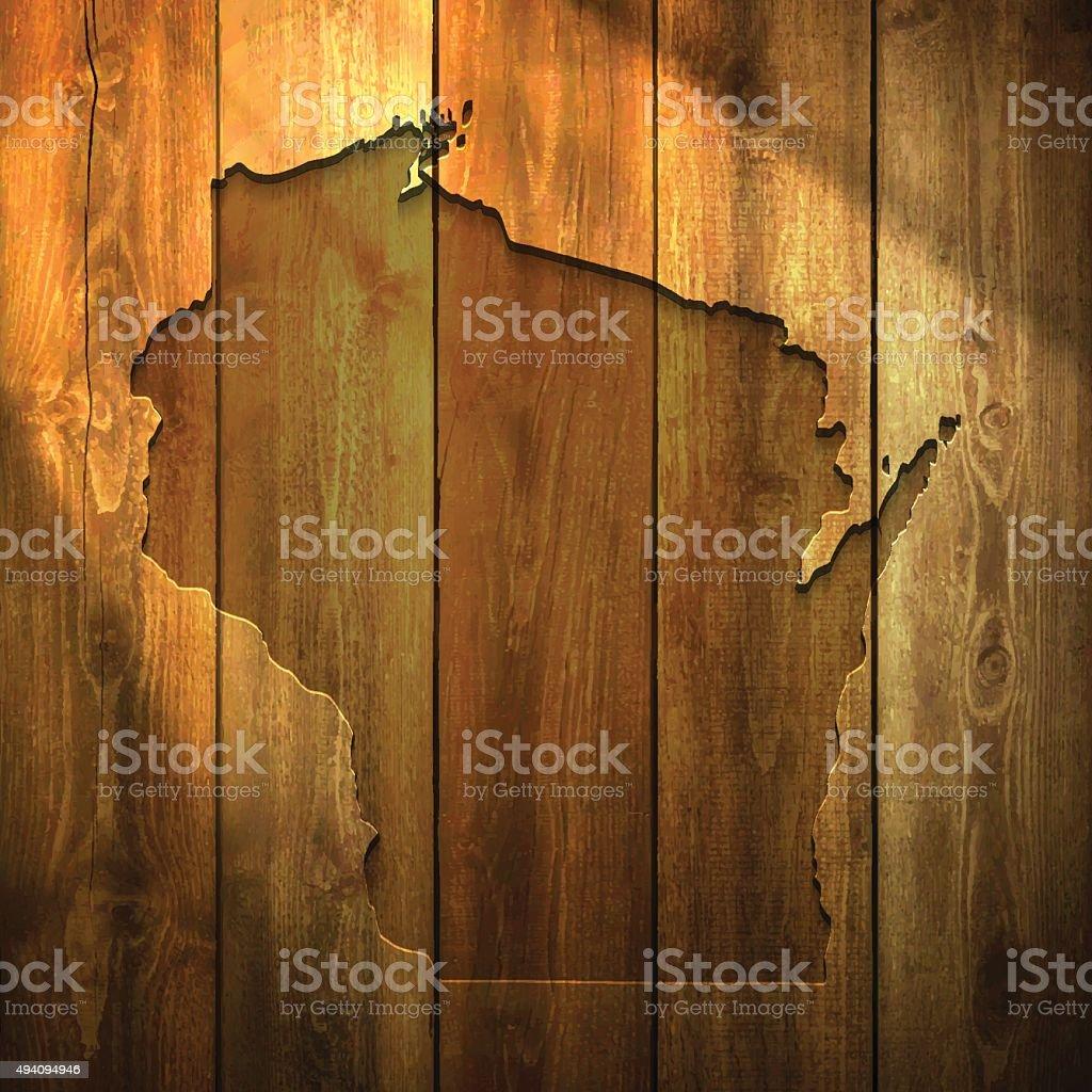 Wisconsin Map on lit Wooden Background vector art illustration