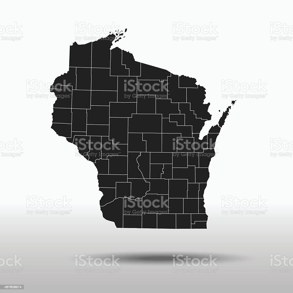 Wisconsin Map vector art illustration