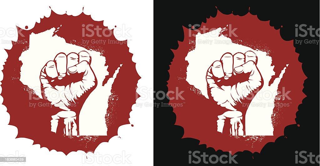 Wisconsin Protest vector art illustration