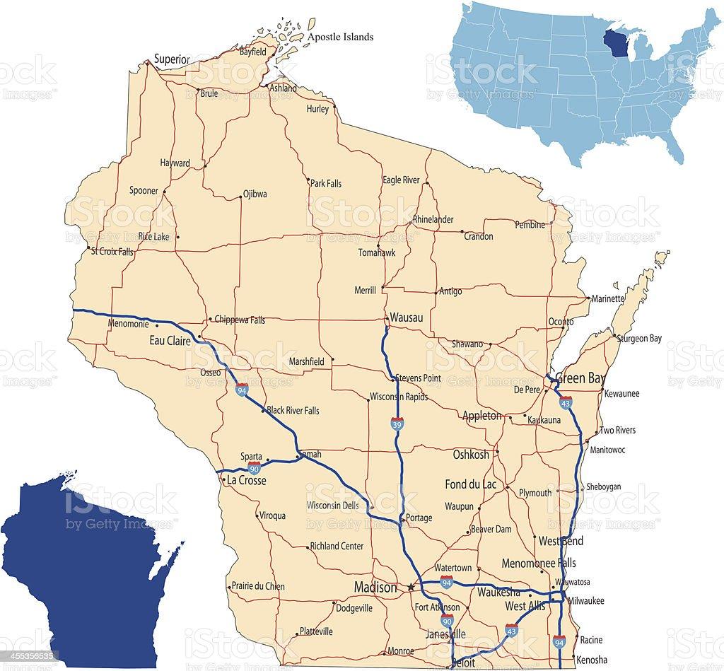 Wisconsin road map vector art illustration