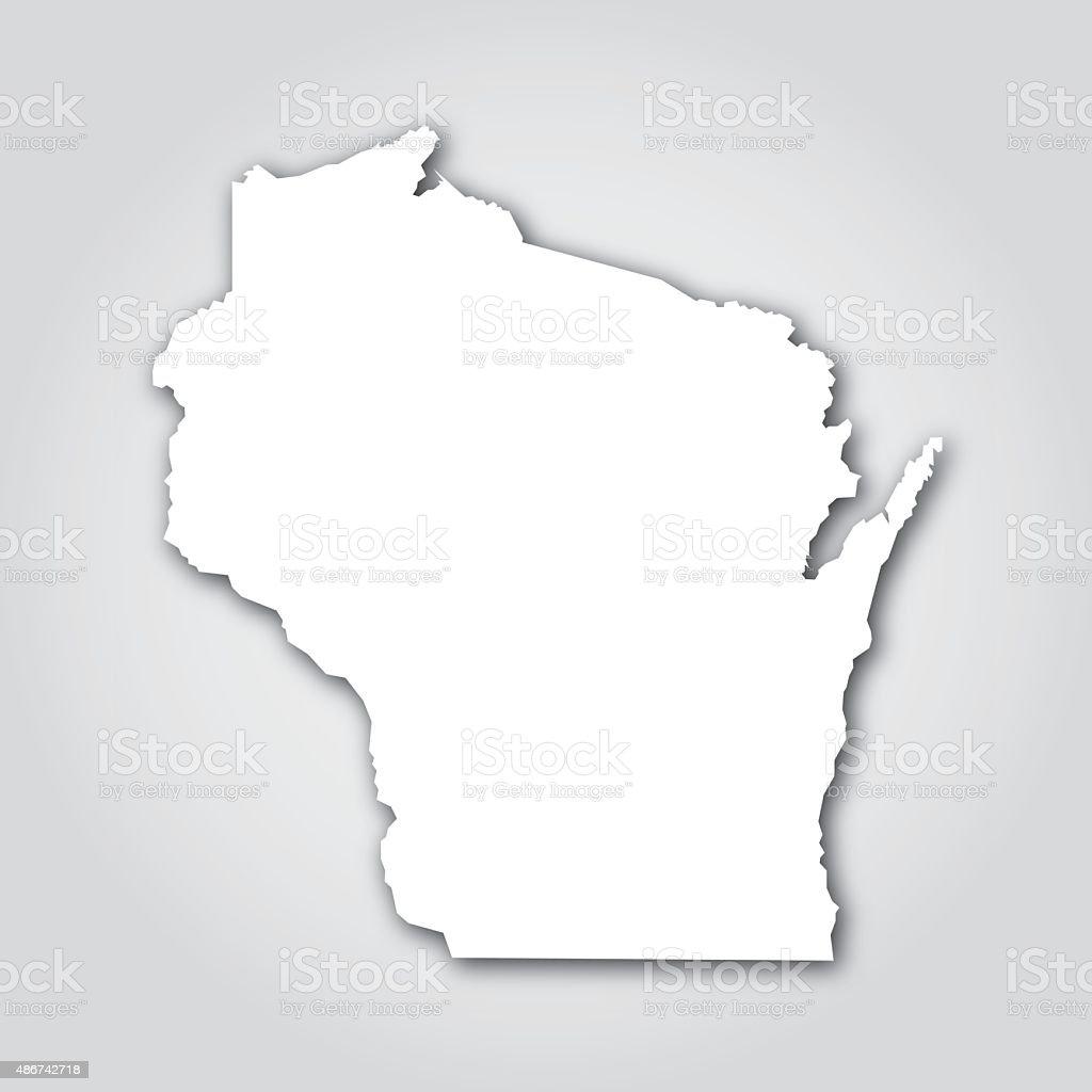 Wisconsin Silhouette White vector art illustration