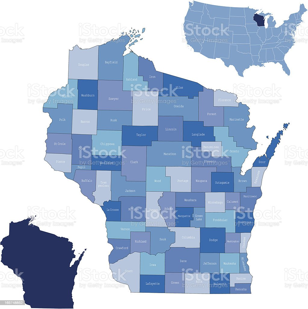 Wisconsin state & counties map vector art illustration