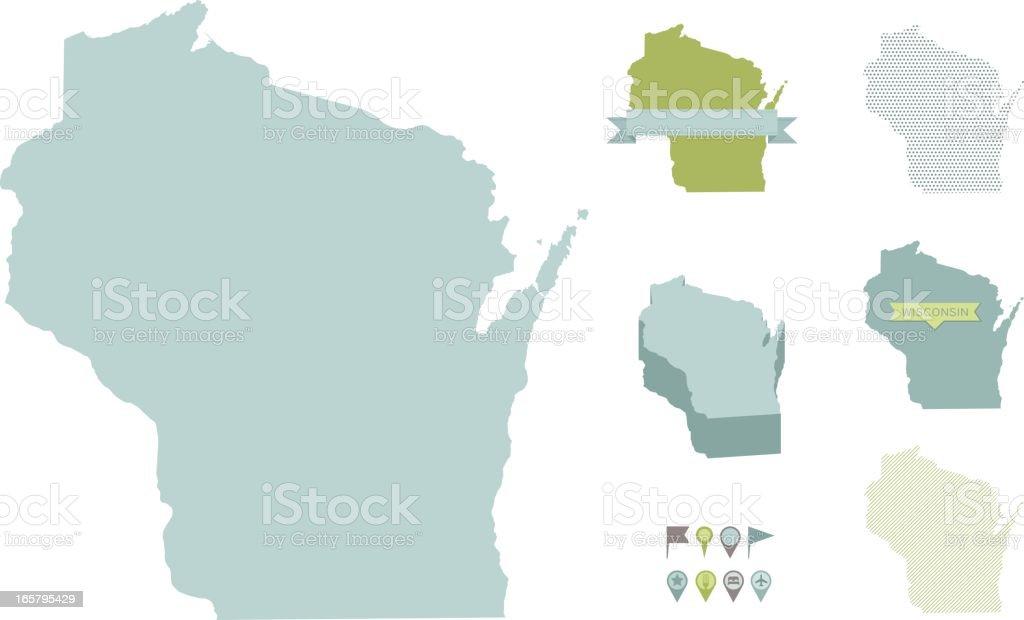 Wisconsin State Maps vector art illustration