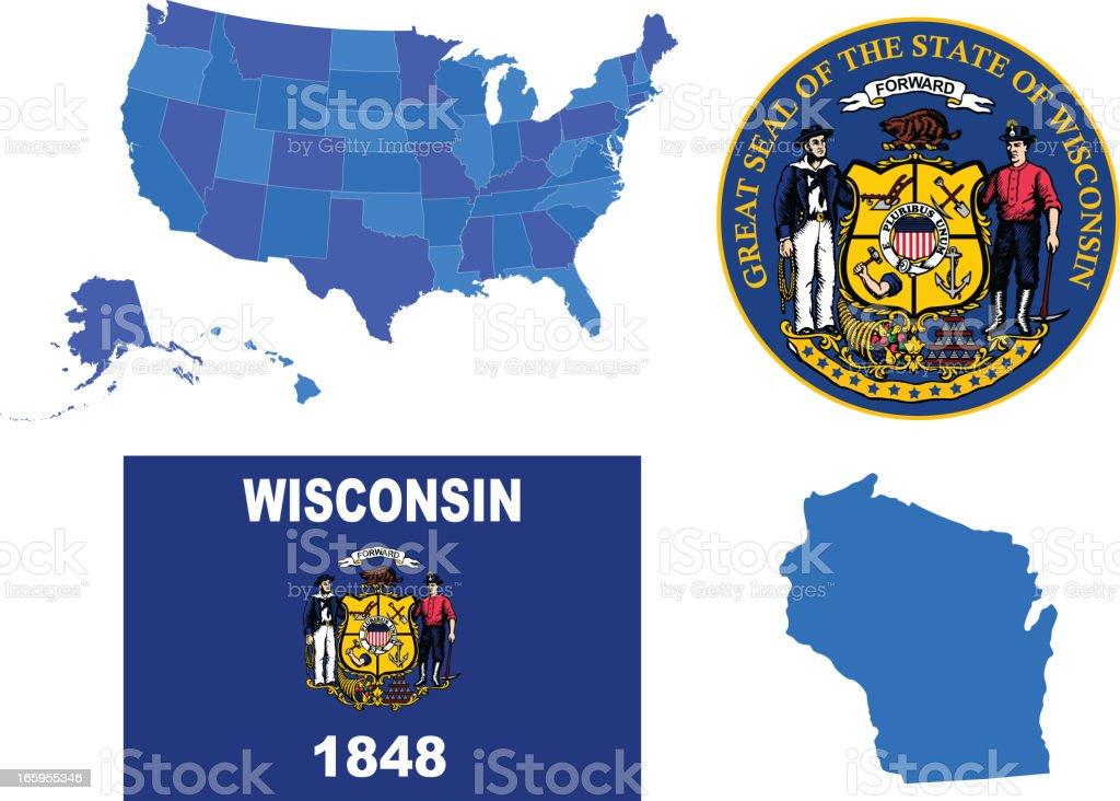 Wisconsin state set vector art illustration