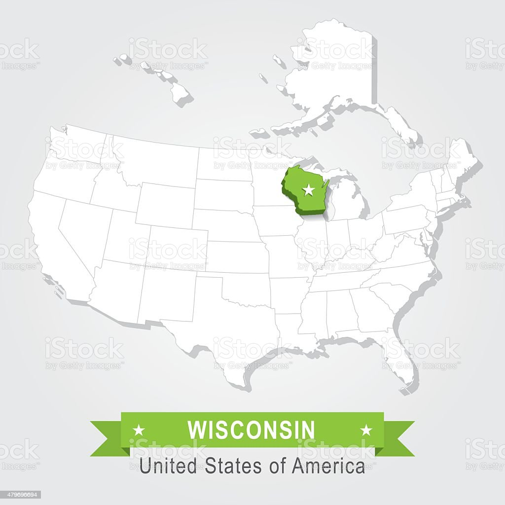 Wisconsin state. USA administrative map. vector art illustration