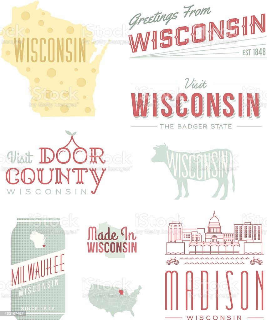 Wisconsin Typography vector art illustration
