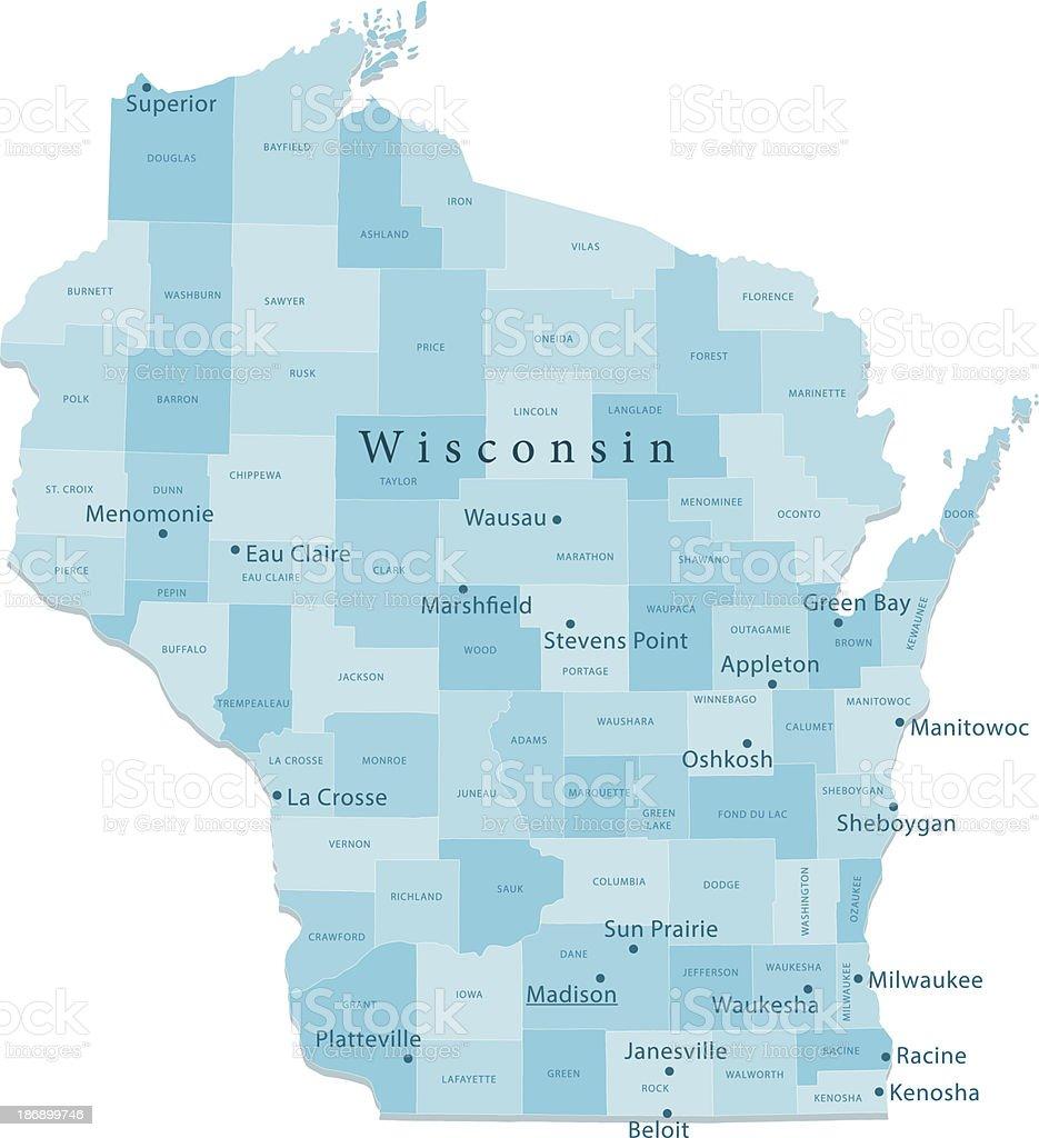 Wisconsin Vector Map Regions Isolated vector art illustration