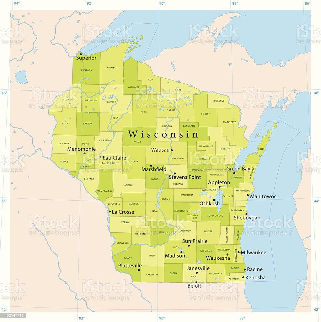 Wisconsin Vector Map vector art illustration