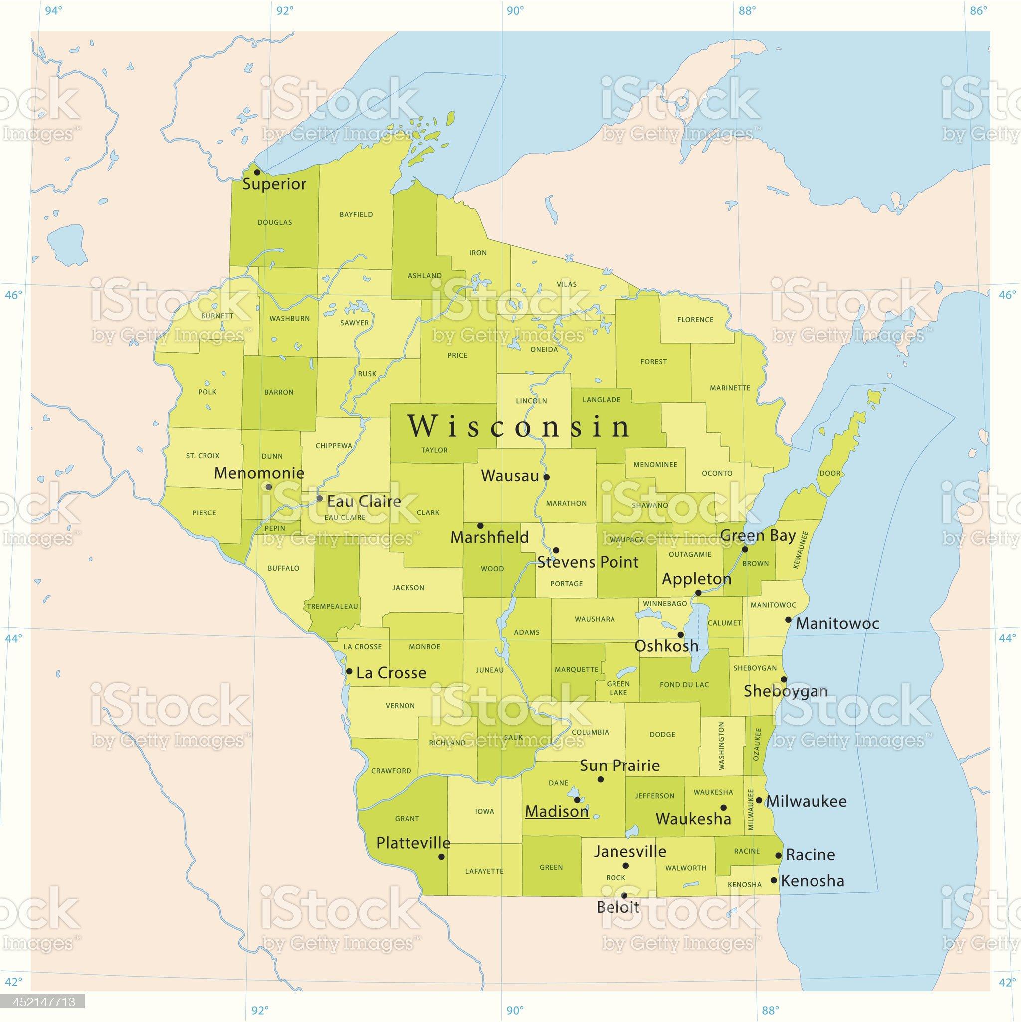 Wisconsin Vector Map royalty-free stock vector art
