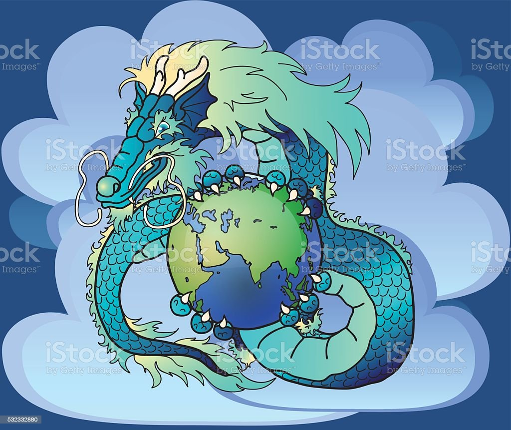 Wise blue east dragon against clouds vector art illustration