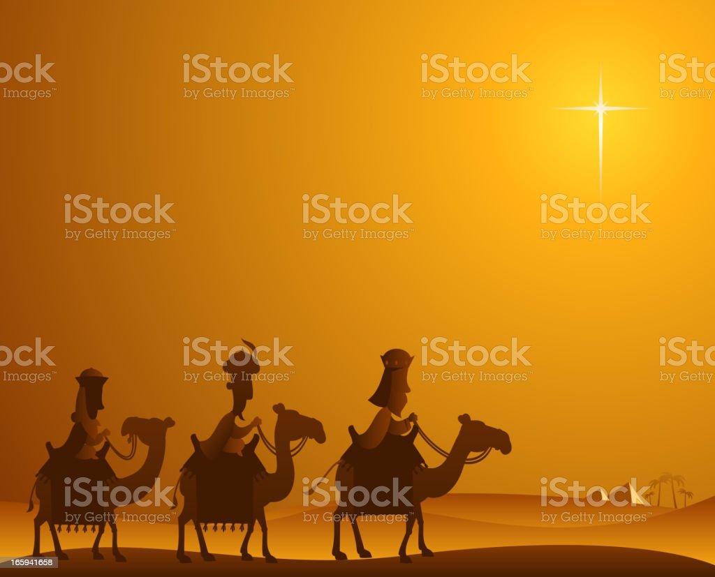 Wise kings desert vector art illustration