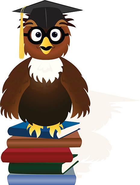 Clip Art Of A Wise Owl Graduation Cap Clip Art, Vector Images ...