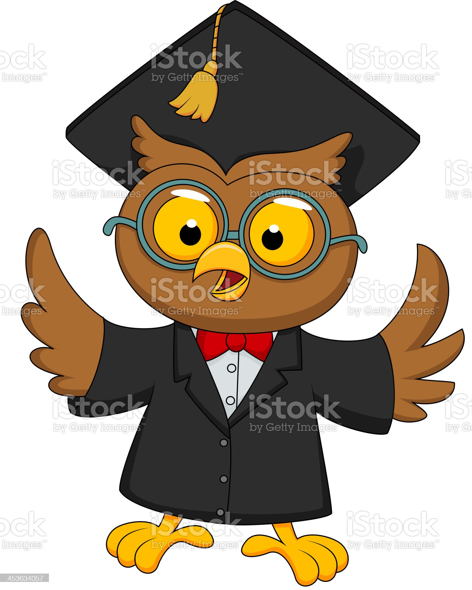 Wise owl cartoon royalty-free stock vector art