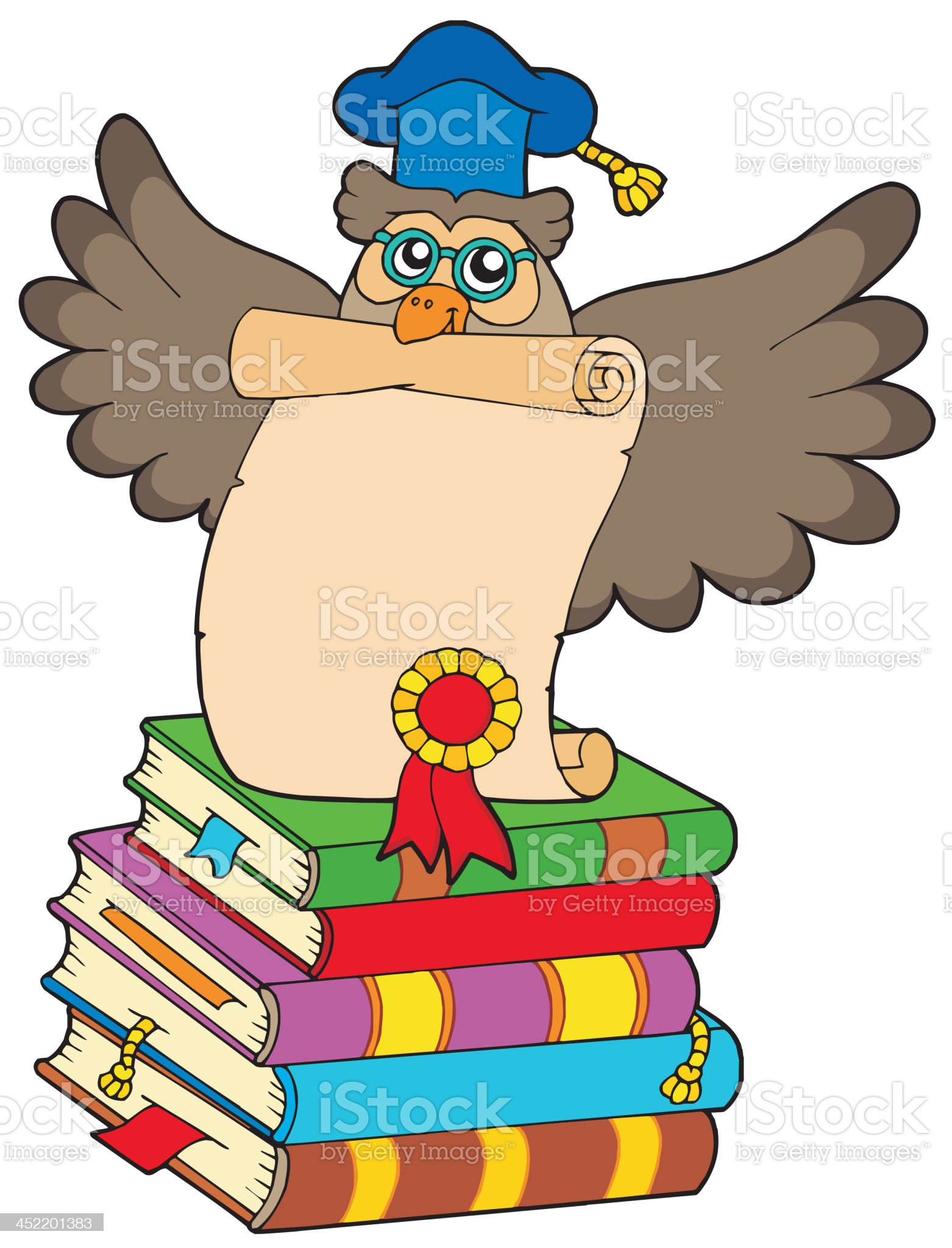 Wise owl with diploma and books royalty-free stock vector art