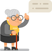 Wise Teacher Guidance Granny Old Lady Character Cartoon Flat Design