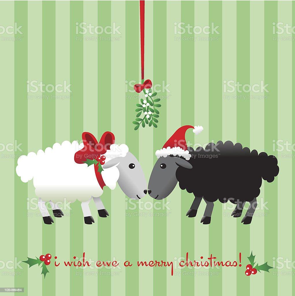 I wish ewe a Merry Christmas! vector art illustration