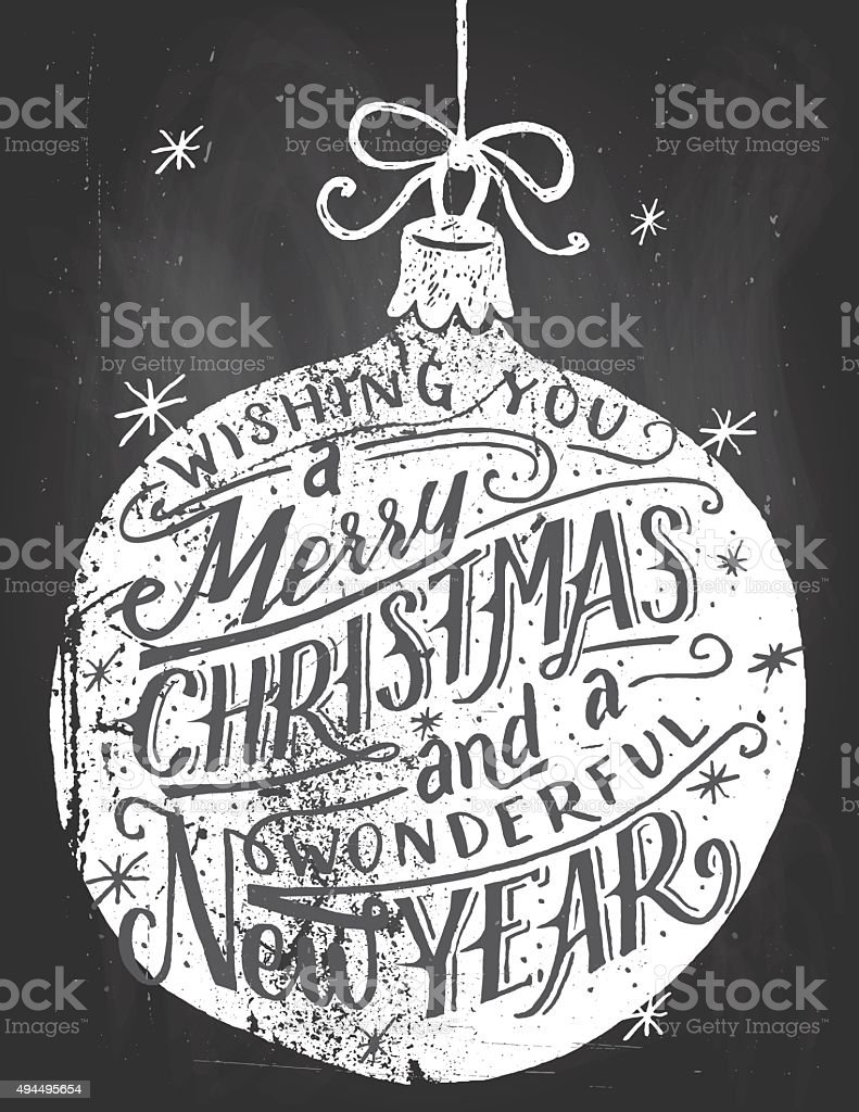 Wishing you a Merry Christmas chalkboard lettering vector art illustration