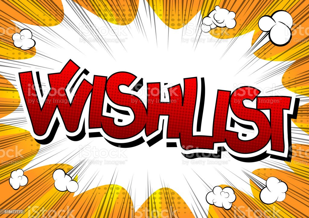 Wishlist - Comic book style word. vector art illustration