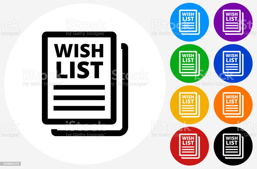 Wishlist Icon on Flat Color Circle Buttons vector art illustration