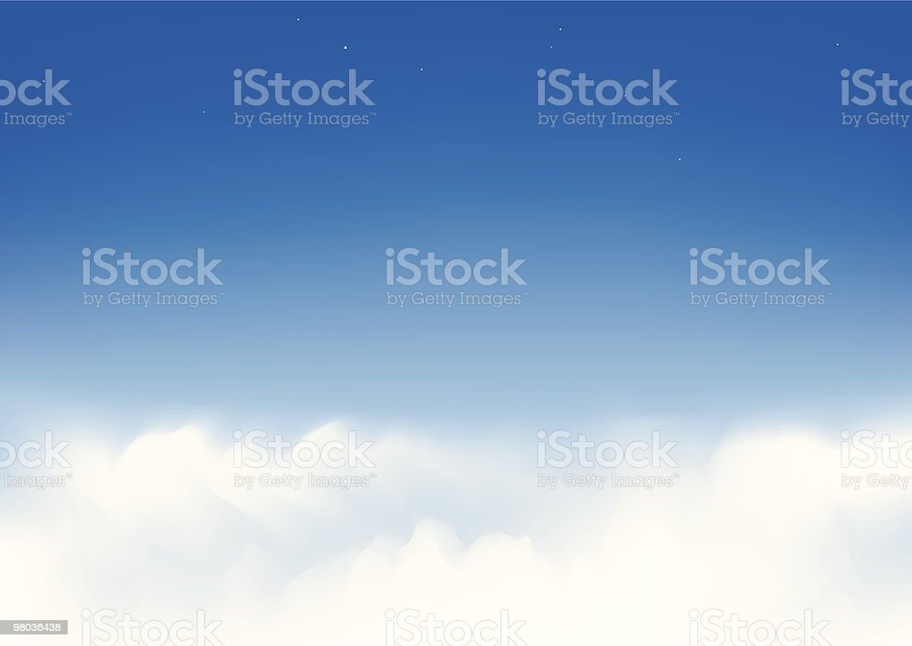 Wispy white clouds in a clear blue sky royalty-free stock vector art