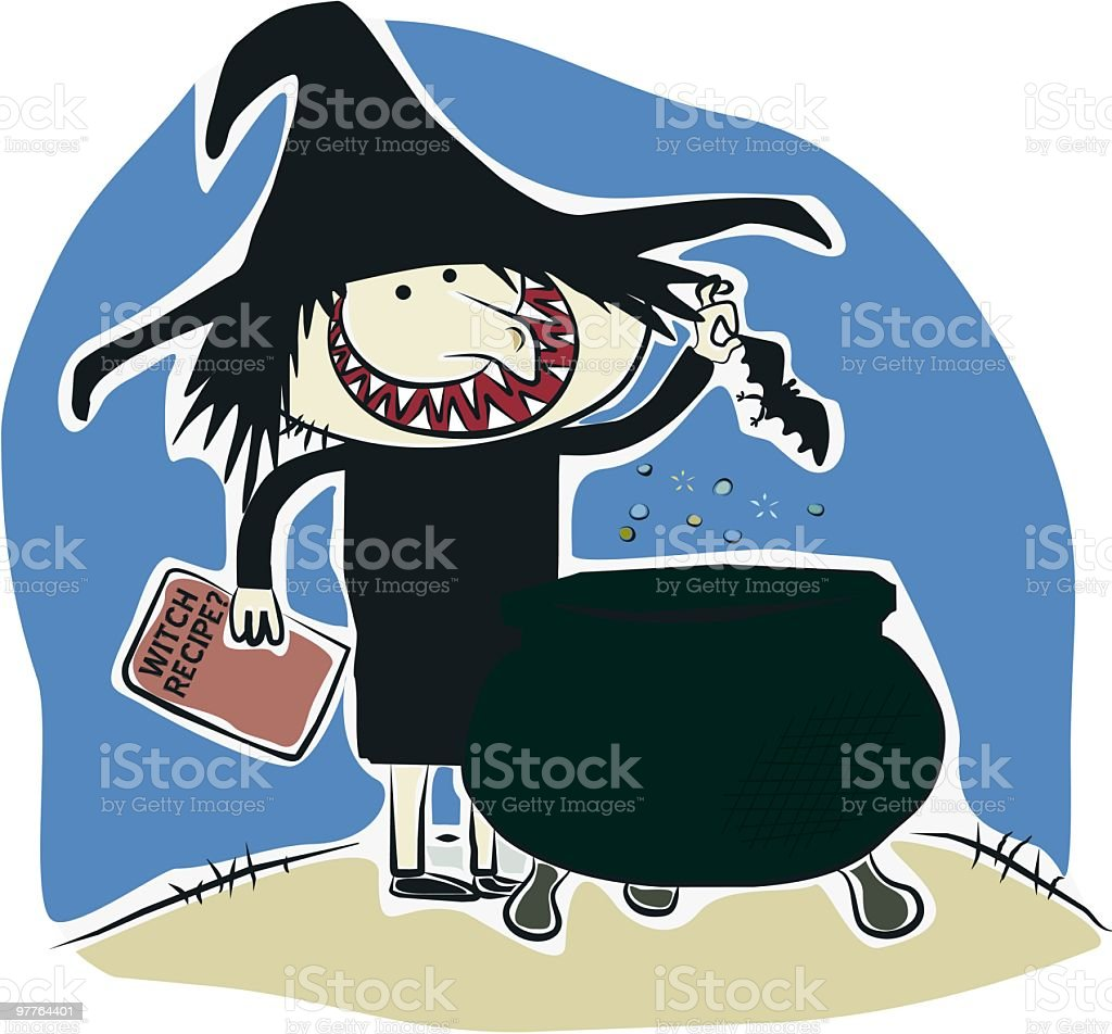 Witch and cauldron cartoon for Hallo royalty-free stock vector art