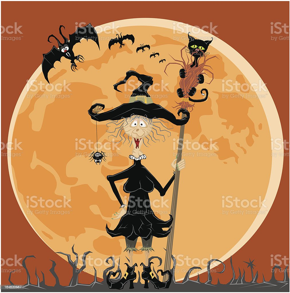 witch and full moon royalty-free stock vector art