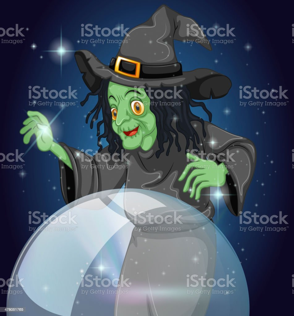 Witch and her crystal ball royalty-free stock vector art
