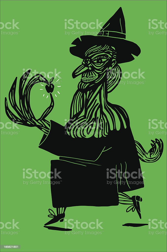 witch and poisonous apple royalty-free stock vector art