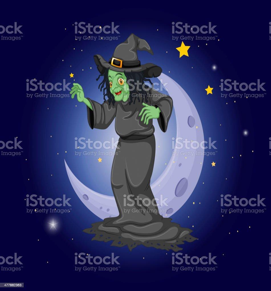 witch at  sky near the moon royalty-free stock vector art