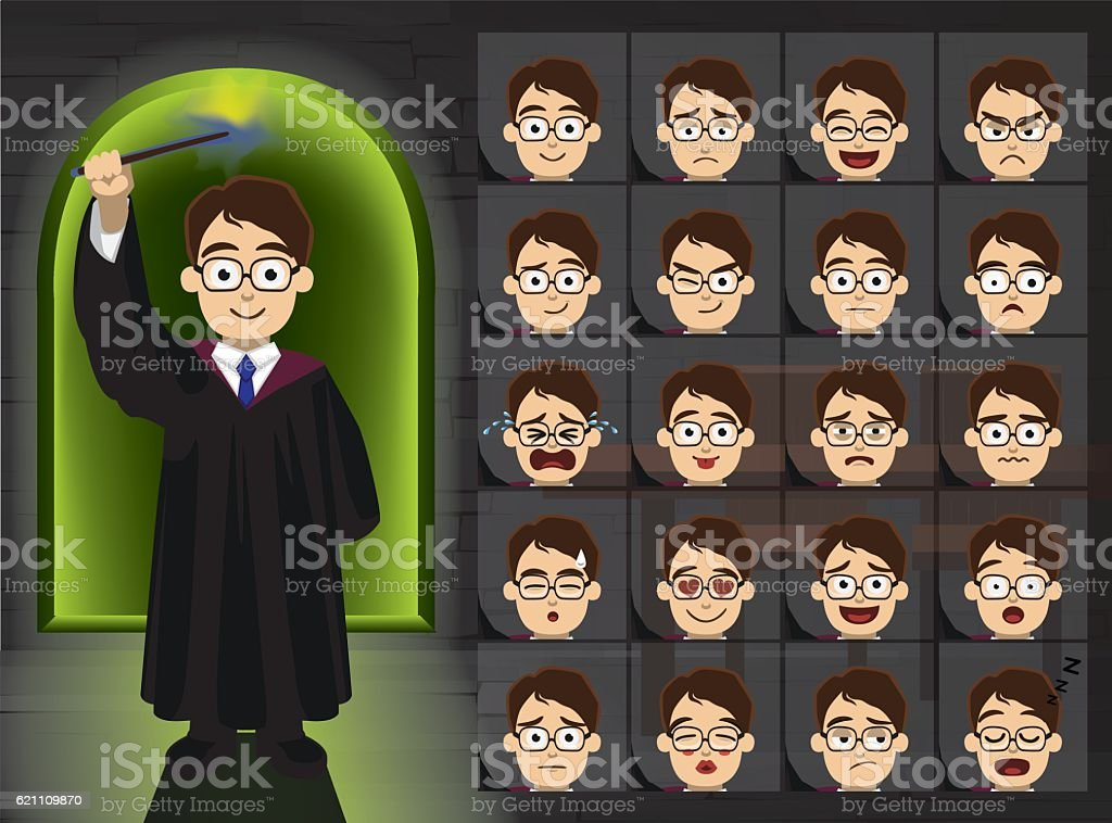Witch Boy Glasses Cartoon Emotion Faces Vector Illustration vector art illustration