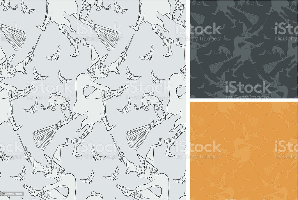 Witch cartoon three seamless patterns royalty-free stock vector art