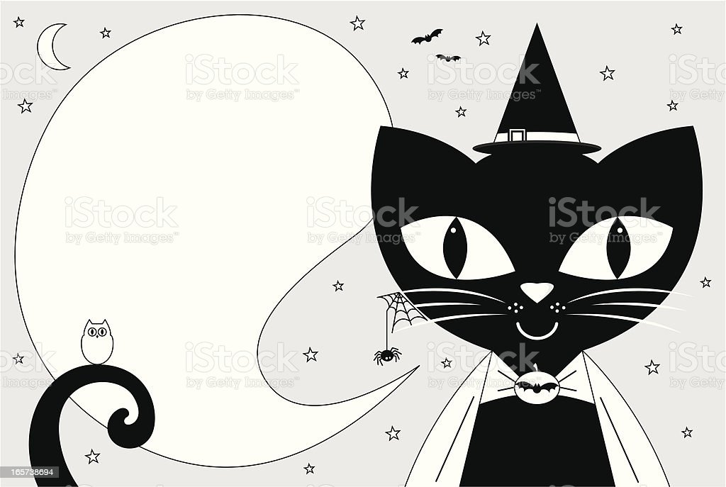 Witch Cat Halloween Icon & Copy Space royalty-free stock vector art