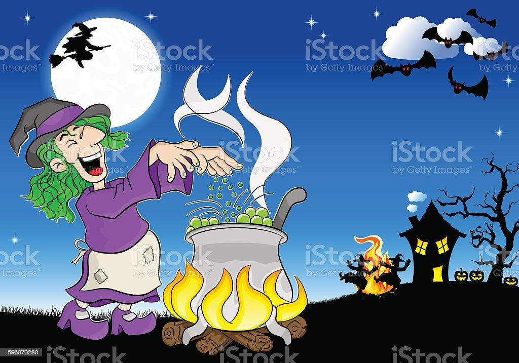 witch cooking a magic potion in the cauldron vector art illustration