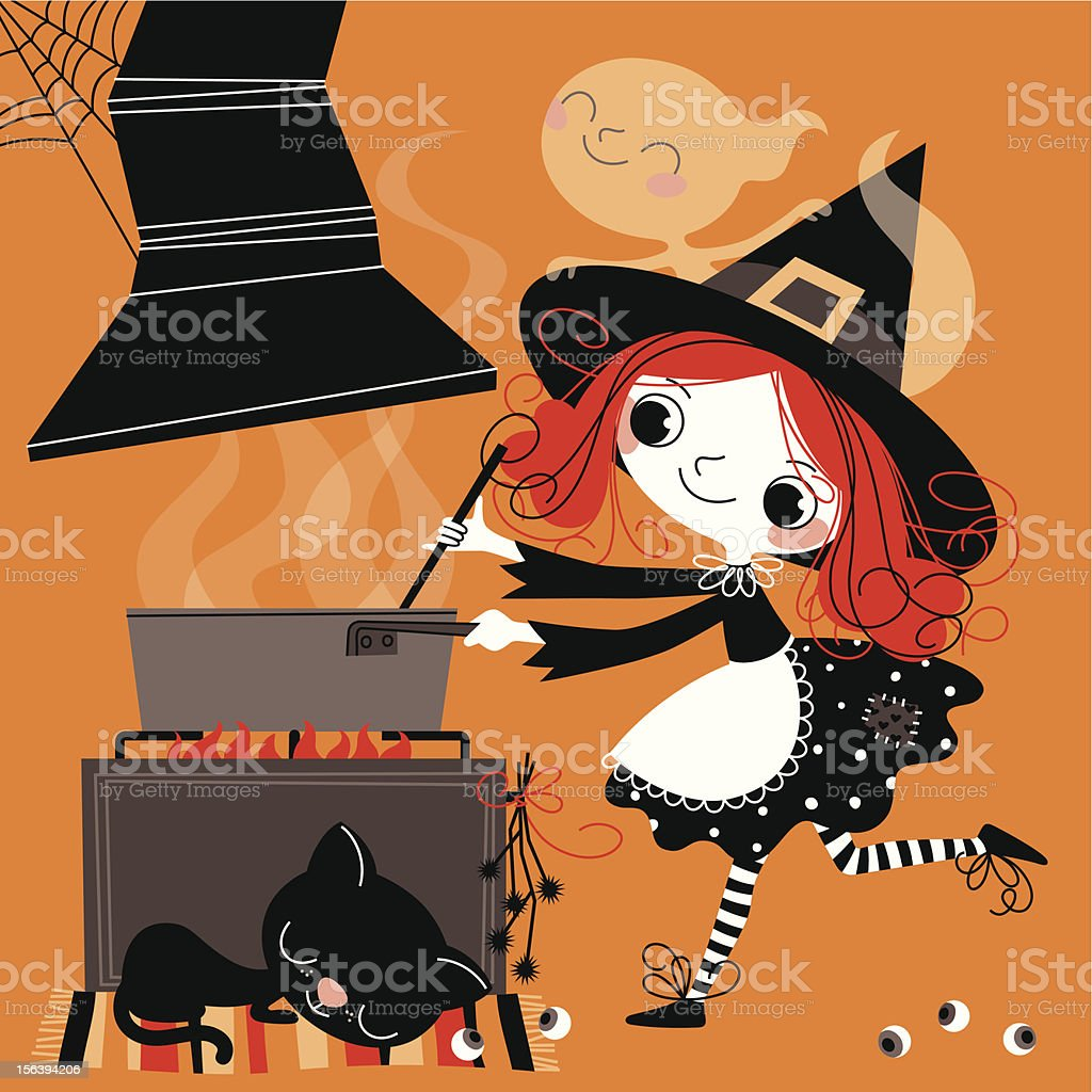 Witch cooking meal. vector art illustration