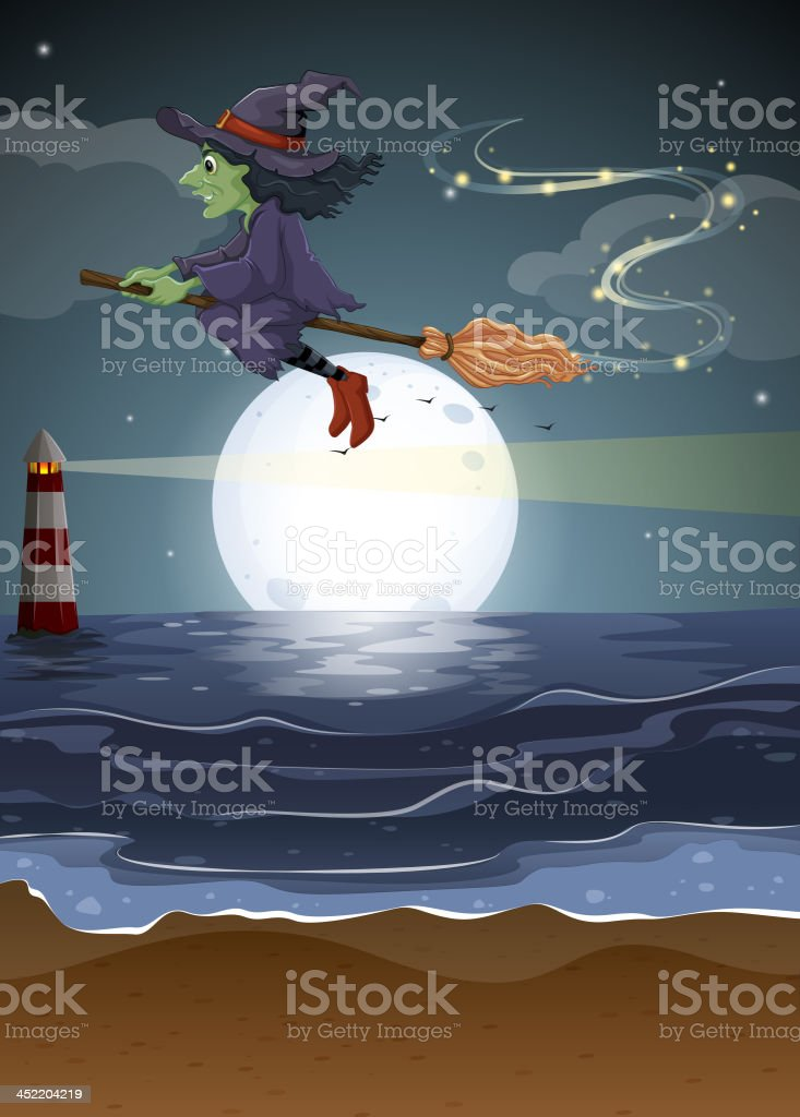 witch flying in the middle of  night royalty-free stock vector art