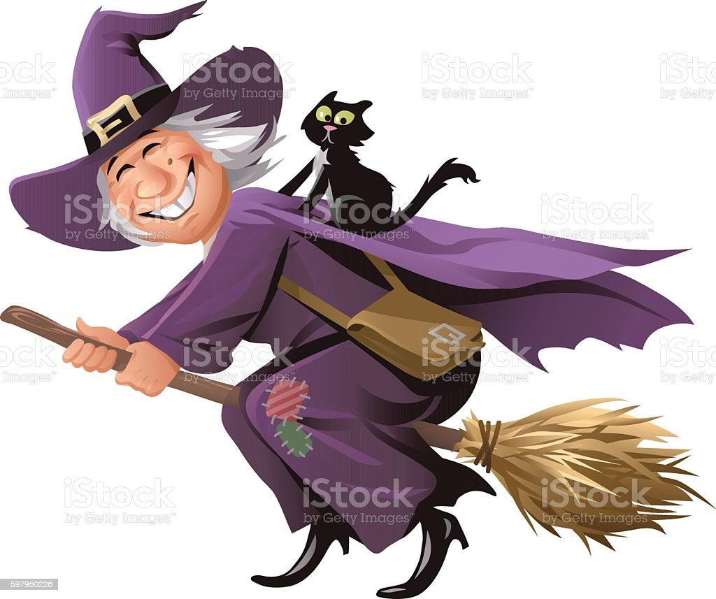 Witch Flying On A Broom vector art illustration