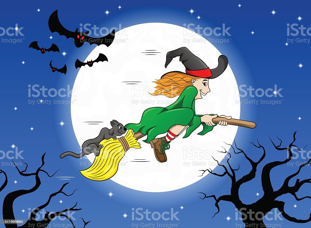 witch flying over the moon vector art illustration