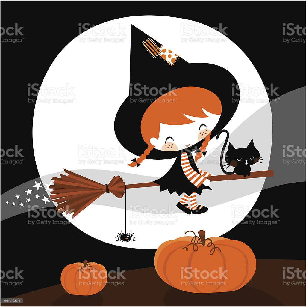 witch halloween vector art illustration