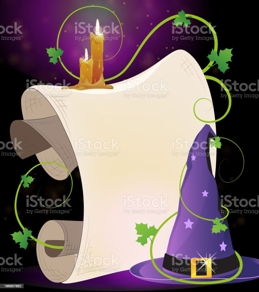 Witch hat and burning candles royalty-free stock vector art
