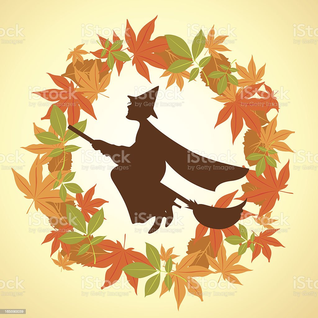 witch in wreath royalty-free stock vector art