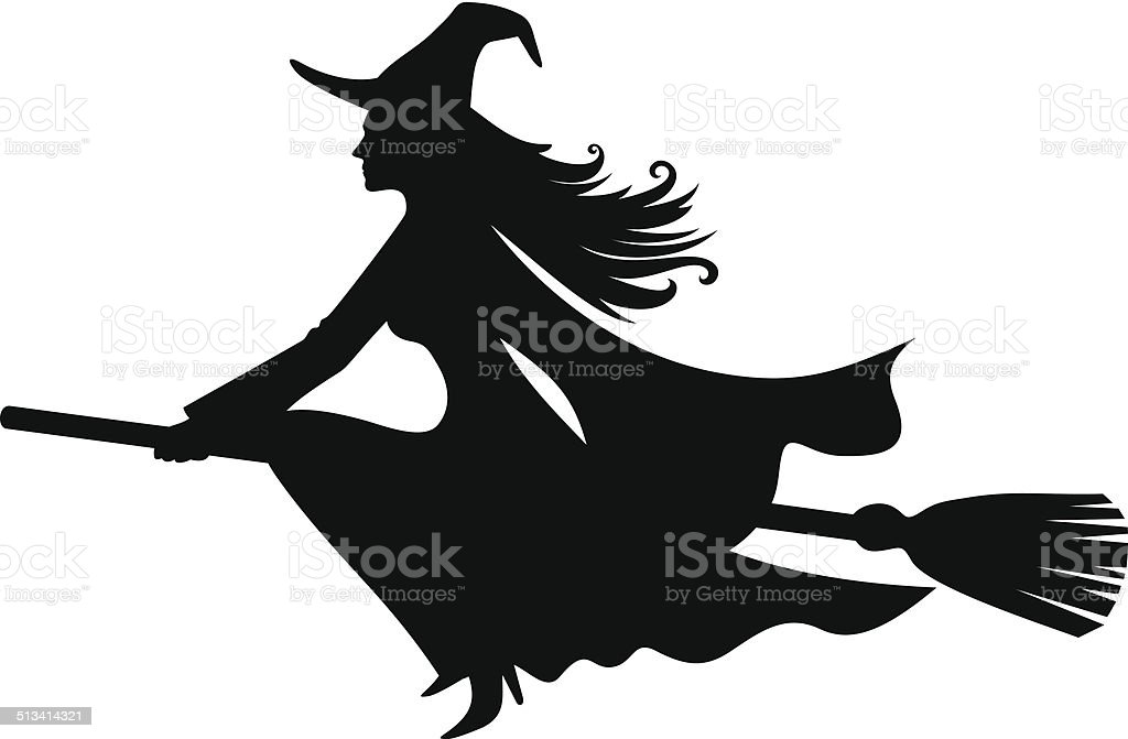 Witch on a broomstick. Vector black silhouette. vector art illustration