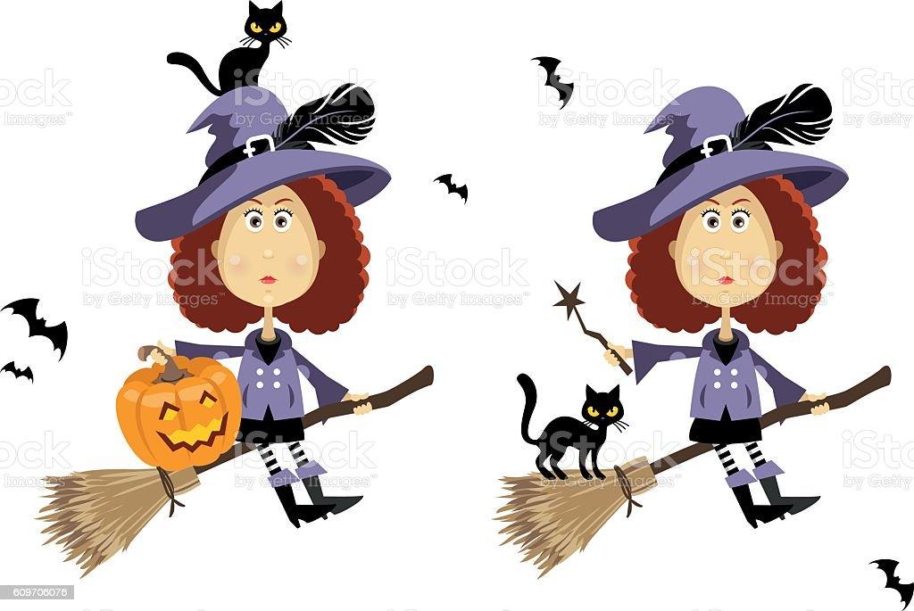 Witch on broom vector art illustration
