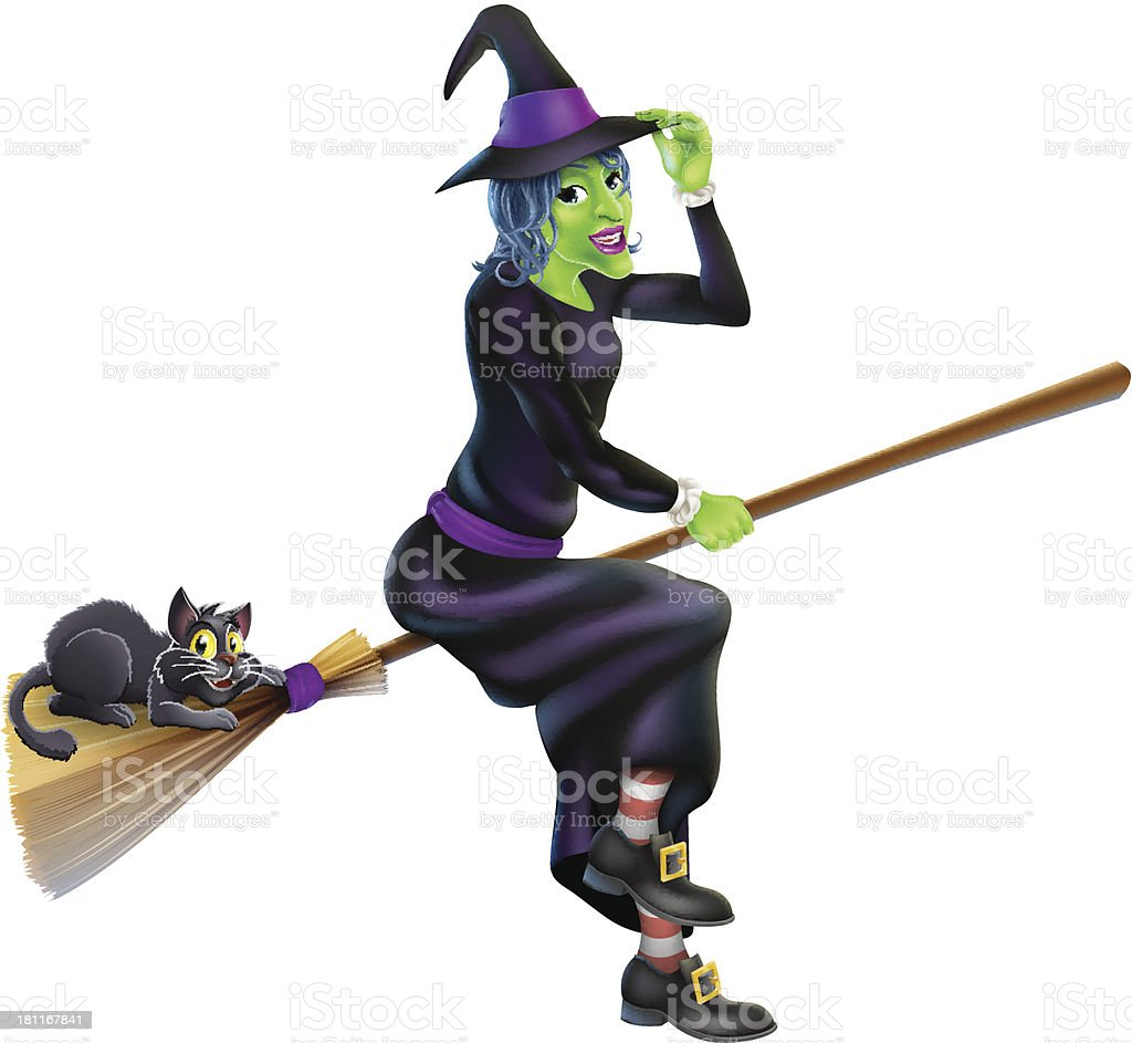 Witch on Broom with Black Cat royalty-free stock vector art
